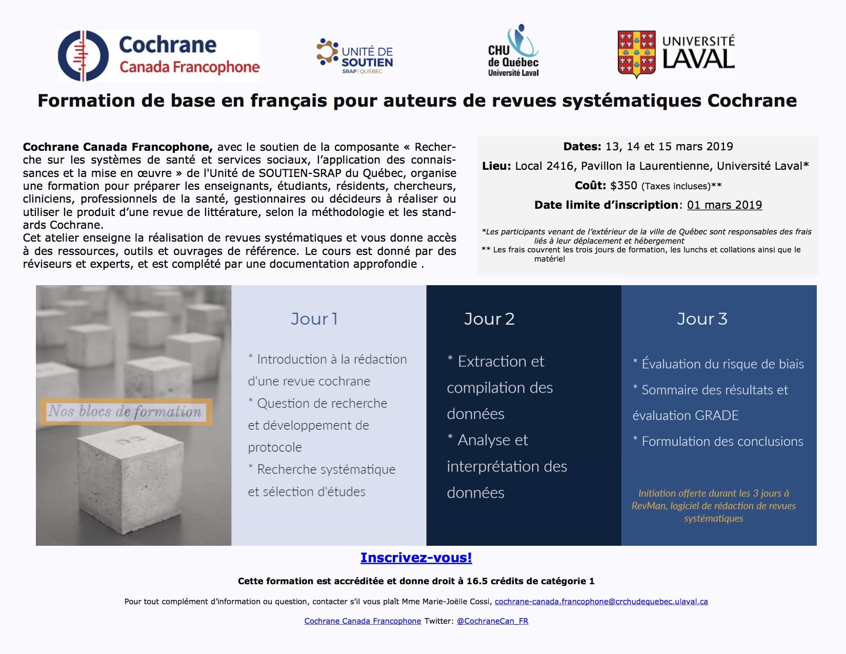 Formation Cochrane mars 2019