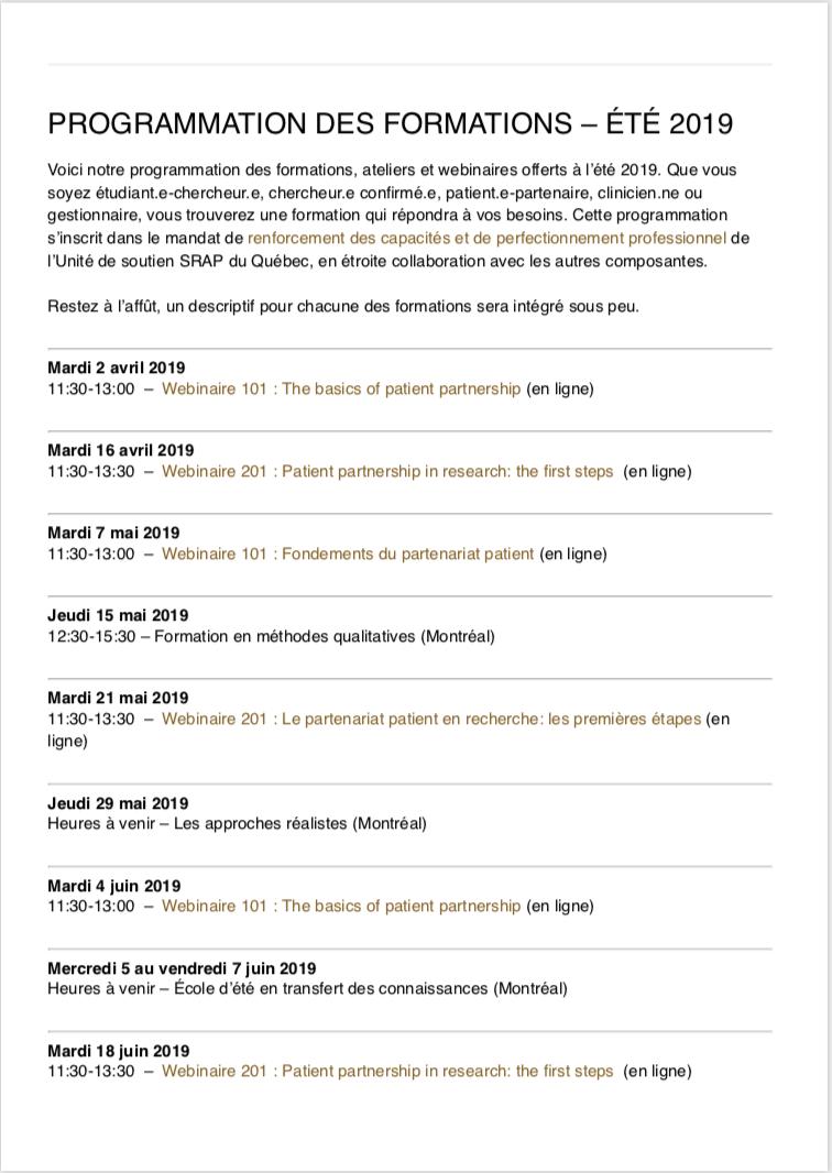 Programmation des formations – été 2019