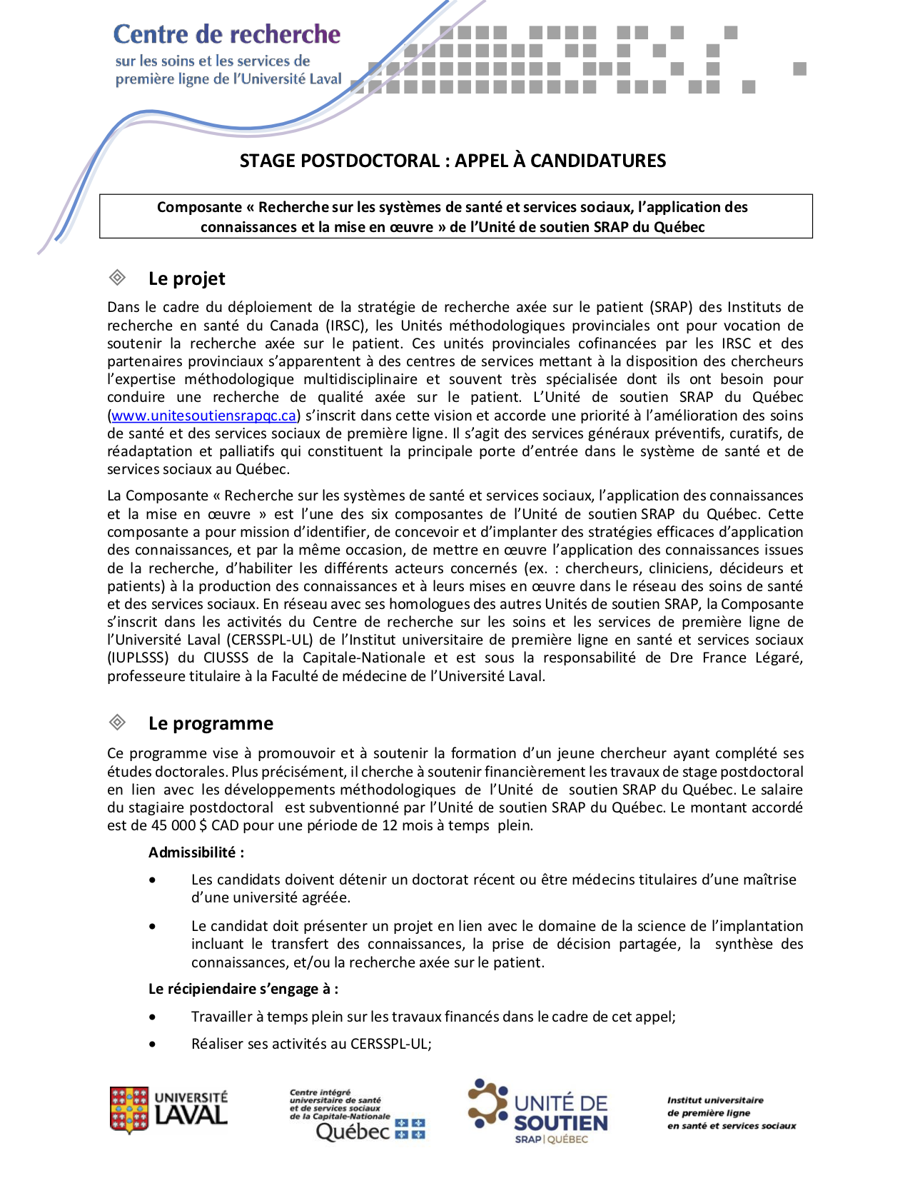 Offre de stage postdoctoral